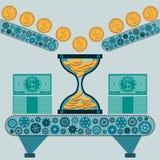 Timglas med guld- mynt och dollarräkningar på maskinen fotografering för bildbyråer
