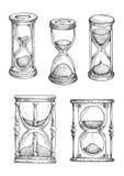 Timglas och sandlgasses skissar uppsättningen Royaltyfri Fotografi