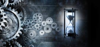 Timglaset Tid förser med kuggar kugghjulaffärsbakgrund royaltyfri illustrationer