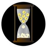 Timglassymbol, sandglass, sandclock, lägenhetdesign, vektorillustration på vit bakgrund arkivfoton