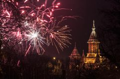 Fireworks. The TimiÈ™oara Orthodox Cathedral with fireworks royalty free stock image