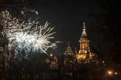 Fireworks. The TimiÈ™oara Orthodox Cathedral with fireworks royalty free stock photo