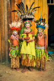 Timid children in Papua New Guinea Stock Photos