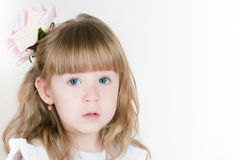 Timid girl with a flower in hair Royalty Free Stock Photography