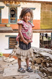 Timid girl in Nepal Stock Photography