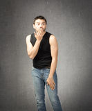 Timid man expressions Stock Image