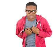 Timid shy nerdy guy Stock Image