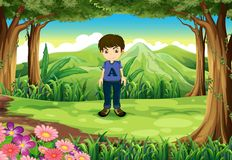 A timid young boy at the forest Stock Photo