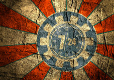 Timing badge symbol 7, 24 on sun ray backdrop. Time operation mode in gear icon on blue grunge concrete Stock Image