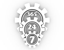 Timing badge symbol 7 and 24. Time operation mode in gear. For customer support and retail. Seven days twenty four hour. 3D rendering Stock Photography