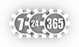 Timing badge symbol 7 and 24. Time operation mode in gear. For customer support and retail. Seven days twenty four hour. 3D rendering Stock Photo