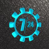 Timing badge symbol 7 and 24. Time operation mode in gear. For customer support and retail. Seven days twenty four hour. 3D rendering. Black leather backdrop Stock Photos