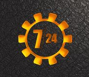 Timing badge symbol 7 and 24. Time operation mode in gear. For customer support and retail. Seven days twenty four hour. 3D rendering. Black leather backdrop Royalty Free Stock Photo