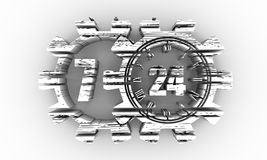 Timing badge symbol 7 and 24. Time operation mode in gear. For customer support and retail. Seven days twenty four hour. Distress grunge texture. 3D rendering Stock Photos