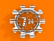 Timing badge symbol 7 and 24. Time operation mode in gear. For customer support and retail. Seven days twenty four hour. Distress grunge texture. 3D rendering Royalty Free Stock Photography