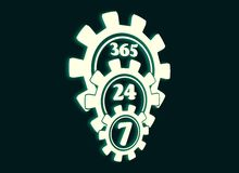 Timing badge symbol 7, 24. Time operation mode in gear. Gear pyramid. For customer support and retail. Seven days twenty four hour. Cogwheels overlay. 3D Stock Photo