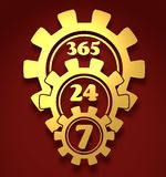 Timing badge symbol 7, 24 Stock Photos