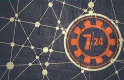 Timing badge symbol 7 and 24 Royalty Free Stock Image