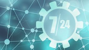 Timing badge symbol 7 and 24. Time operation mode in gear. Infinity arrow icon. For customer support and retail. Seven days twenty four hour. Molecule and Stock Image