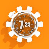 Timing badge symbol 7 and 24. Time operation mode in gear. Infinity arrow icon. For customer support and retail. Seven days twenty four hour. 3D rendering Royalty Free Stock Photo