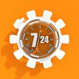 Timing badge symbol 7 and 24 Royalty Free Stock Photo
