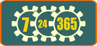 Timing badge symbol 7, 24, 365. Time operation mode in gears icon Stock Images