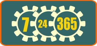 Timing badge symbol 7, 24, 365 Stock Images