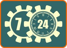 Timing badge symbol 7, 24, 365. Time operation mode in gears icon Royalty Free Stock Photography