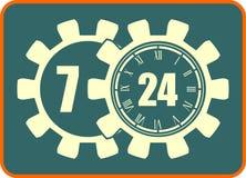 Timing badge symbol 7, 24, 365 Royalty Free Stock Photography