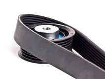 Timing belt. (with clipping path) tensioner pulley royalty free stock photos