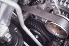 Free Timing Belt And Pulley Deteriorate In Engine System. Stock Photo - 170609610