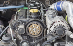 Timing belt and camshaft sprocket. In Diesel common rail engine Stock Images