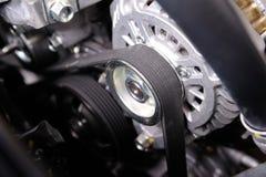 Timing belt. Closeup car timing belt in clean engine room stock images