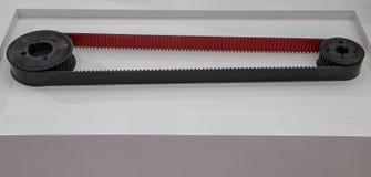 Timing belt drive CNC machine. Sample of timing belt drive in CNC machine manufacturing stock photo