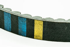 Timing belt for motorcycle engine white royalty free stock photo