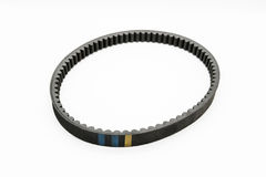 Timing belt for motorcycle engine white stock photography