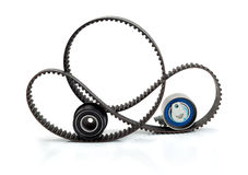 Timing belt, pulley and tensioner. Isolate on white royalty free stock photos