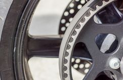 Timing belt on a wheel pulley . Close up.  stock photo