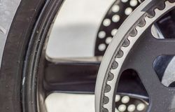 Timing belt on a wheel pulley . Close up.  royalty free stock images