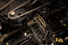 Timing chain of an industrial mechanism. Close up photo stock image