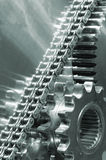 Timing-chain and large gear-mechanism. Large timing-chain powering gear mechanism Royalty Free Stock Photo