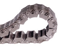 Timing chain. Used and dirty Automotive timing chain isolated on white royalty free stock photo