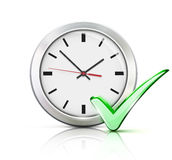 Timing concept. Vector illustration of timing concept with classic office clock and check mark icon  on white background Stock Image