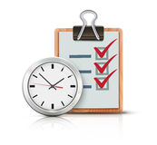 Timing concept. Vector illustration of timing concept with classic office clock and check list on clipboard  on white background Stock Photography