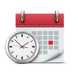 Timing concept. Vector illustration of timing concept with classic office clock and detailed calendar icon Stock Photo