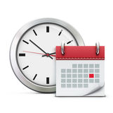 Timing concept. Vector illustration of timing concept with classic office clock and detailed calendar icon Royalty Free Stock Photos
