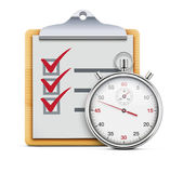 Timing concept. Vector illustration of timing concept with classic stopwatch, clipboard and check list Royalty Free Stock Photo
