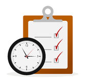 Timing Concept. Check List Board and Clock Stock Photography