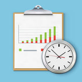 Timing concept. Vector illustration of timing concept with classic clock, clipboard and productivity chart Royalty Free Stock Photo