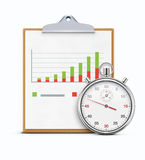 Timing concept. Vector illustration of timing concept with realistic stopwatch, clipboard and productivity chart Royalty Free Stock Photos